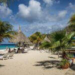 Strand zee palmbomen ligbedden parasols
